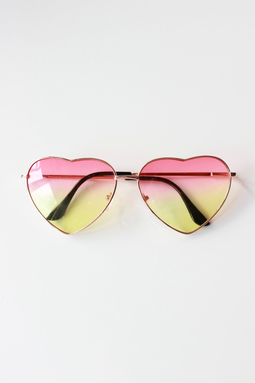 Pink And Lime Ombre Heart Sunglasses