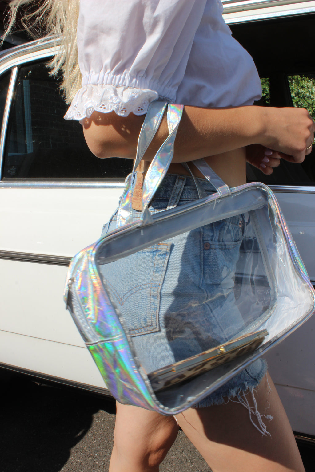Vintage Y2K PVC Holographic Clear / Toiletries / Makeup Bag / Wash Bag
