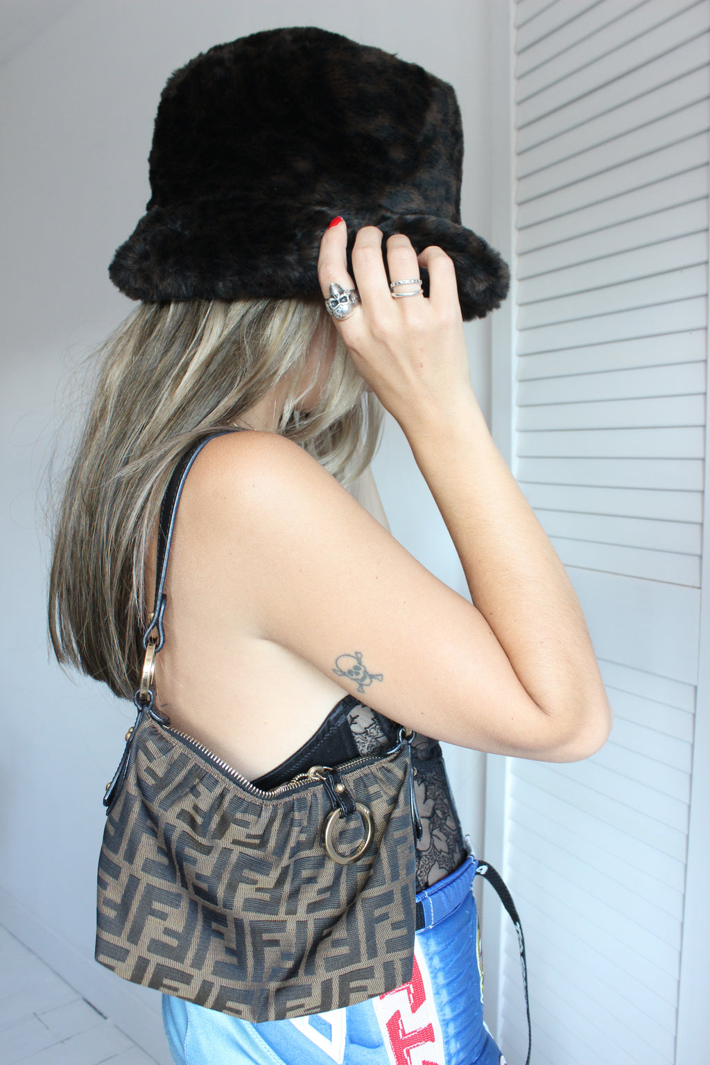 Vintage 90s Brown Brown Faux Fur Bucket Hat