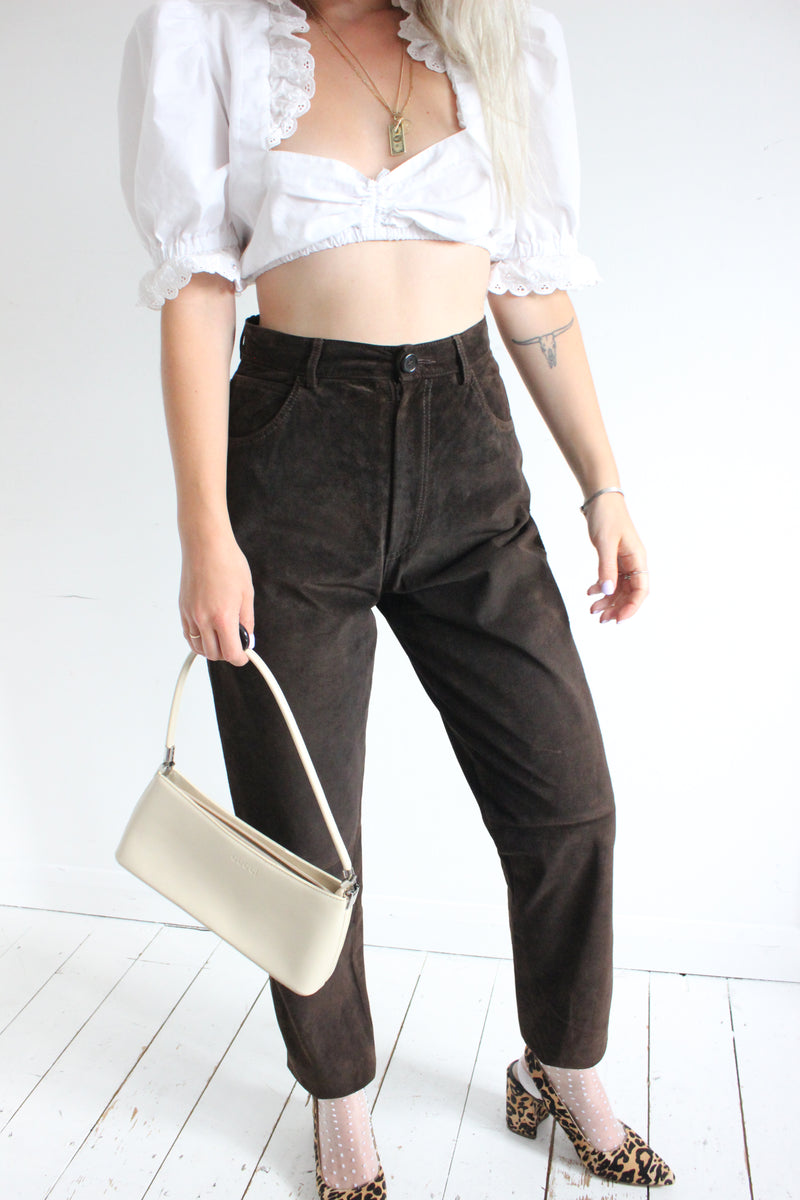 Vintage 90s Dark Brown High Waisted Real Suede Trousers