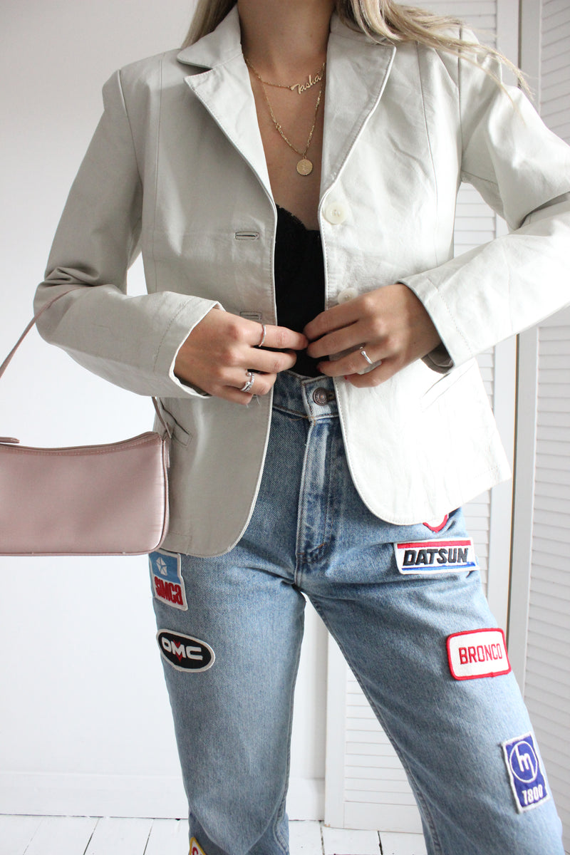 Vintage 90s Y2K Beige Leather Blazer Jacket