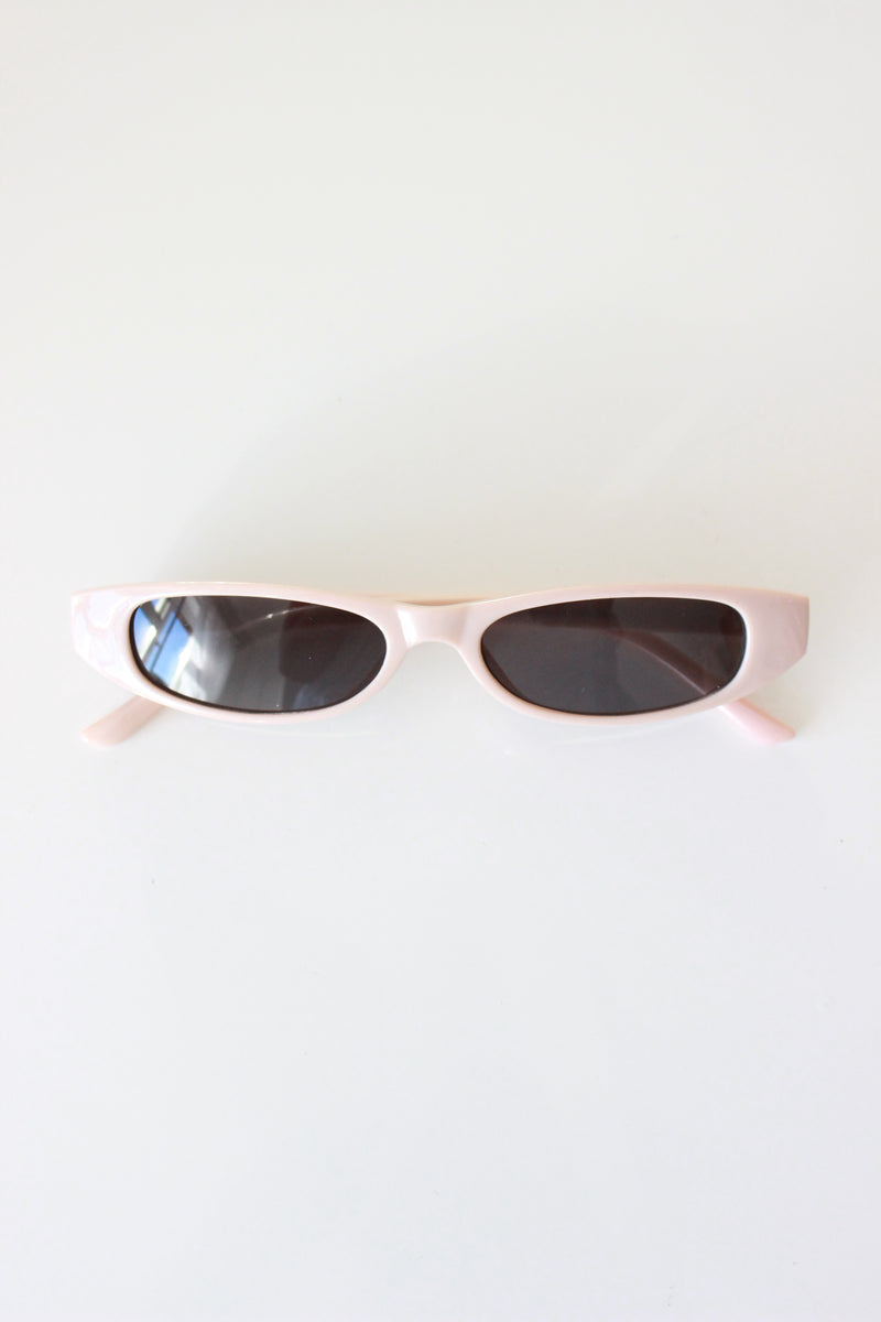 Beige Y2K Style Ultra Slim Rectangle Sunglasses
