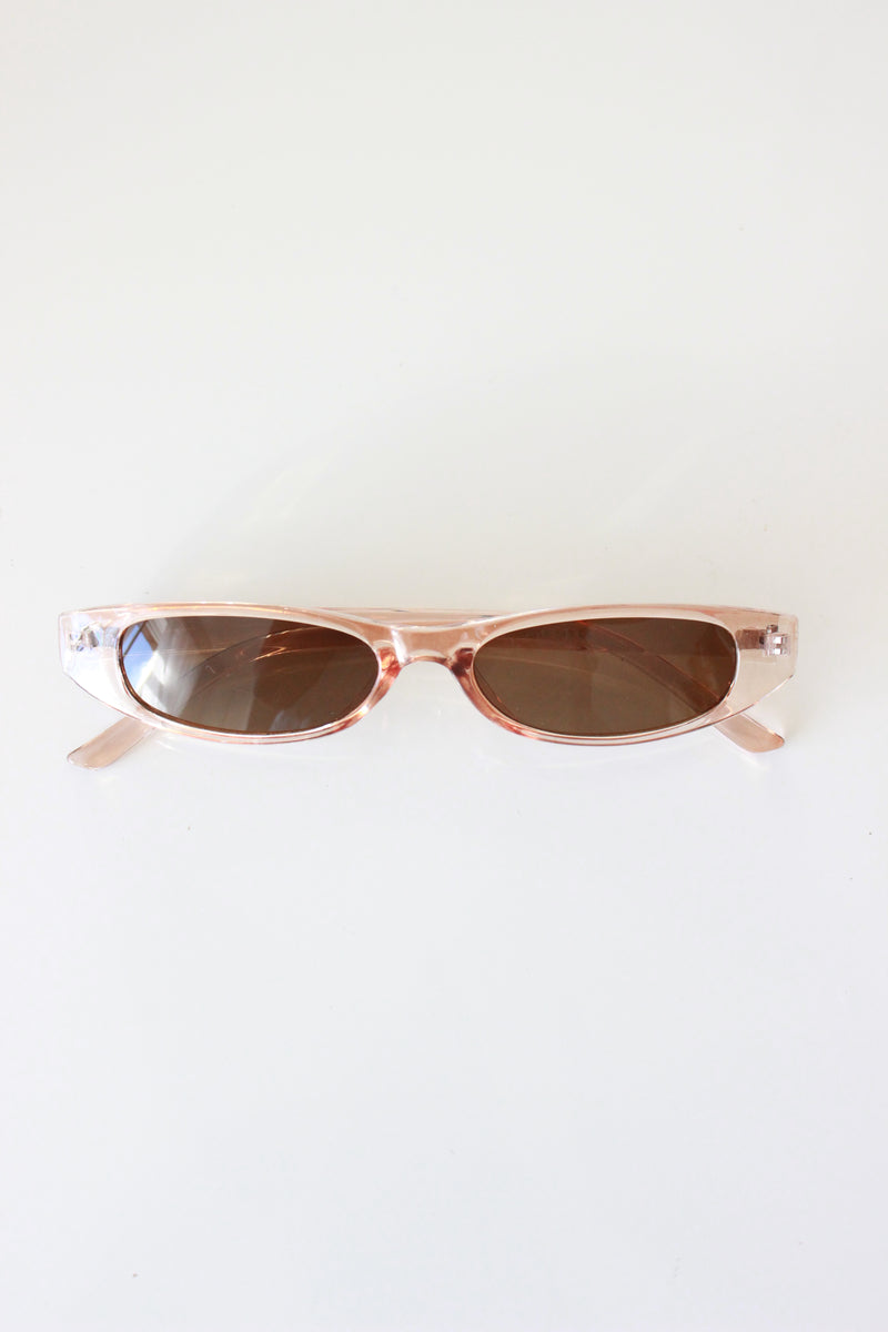 Caramel Clear Y2K Style Ultra Slim Rectangle Sunglasses