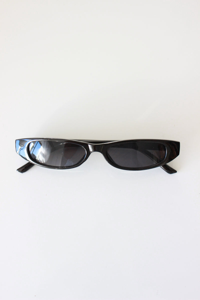 Black Y2K Style Ultra Slim Rectangle Sunglasses
