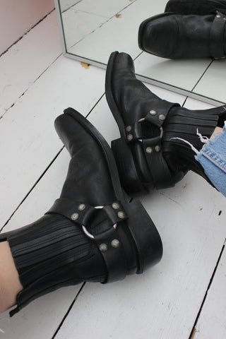Vintage 80s Black Leather Bow Mini Wedge Heel