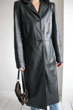 Vintage 90s Long Black Leather Goth Rave Trench Jacket