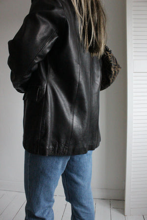 Vintage Y2k 90s Black Leather Blazer Jacket
