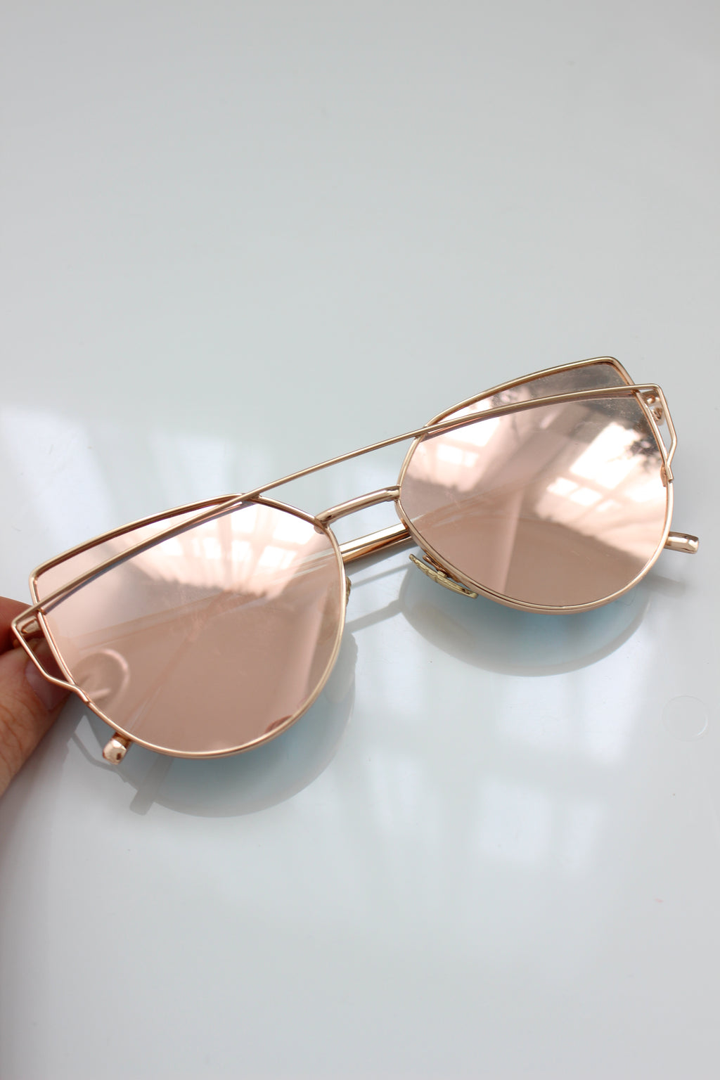 Rose Mirror Lens Aviator Sunglasses