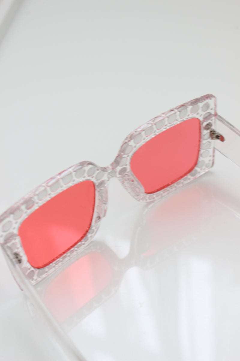 Pink Lens Clear Frame Diamante Square Sunglasses