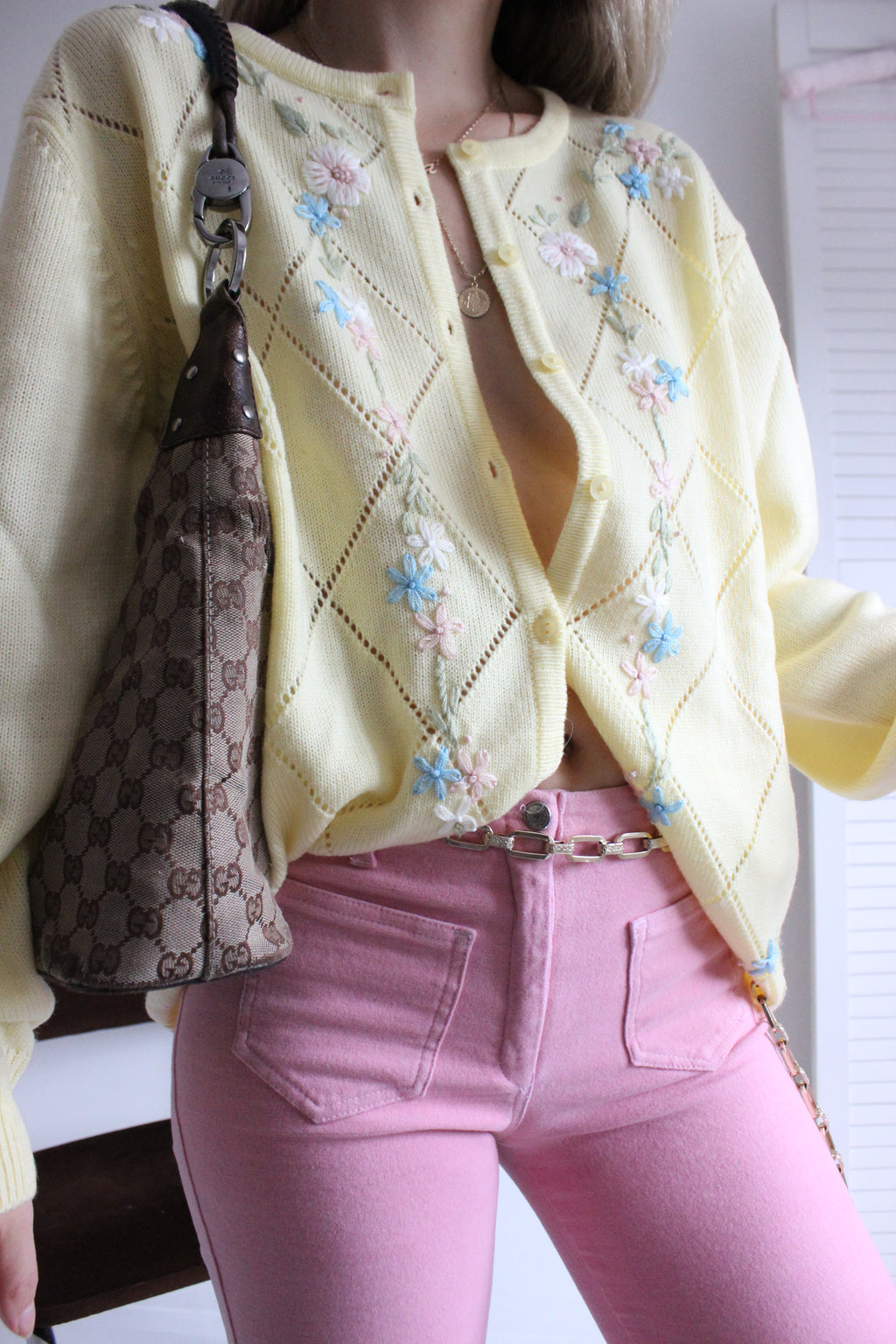 Vintage 90s Pastel Yellow Knitted Cardigan With Floral Embroidery