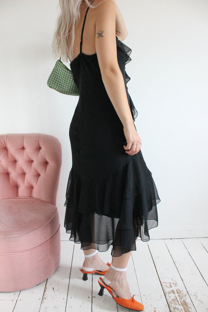 Vintage 90s Black Chiffon Ruffle Dress LBD