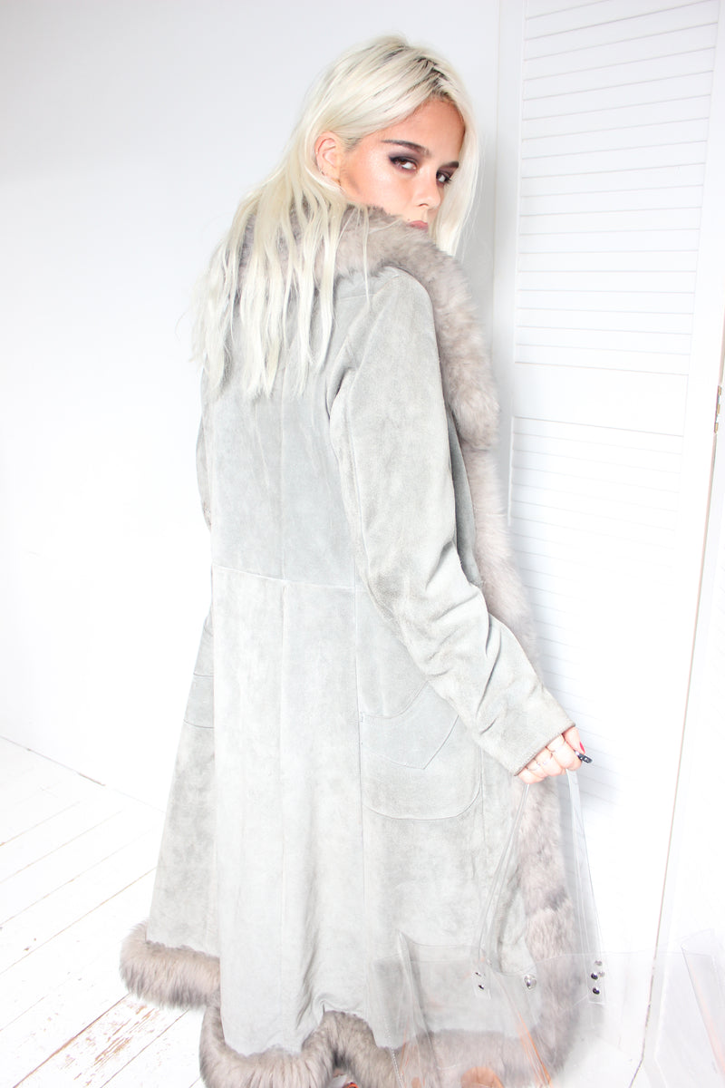 Premium Vintage 70s Grey Real Suede Penny Lane Coat with faux fur lining and real Sheep fur trimming