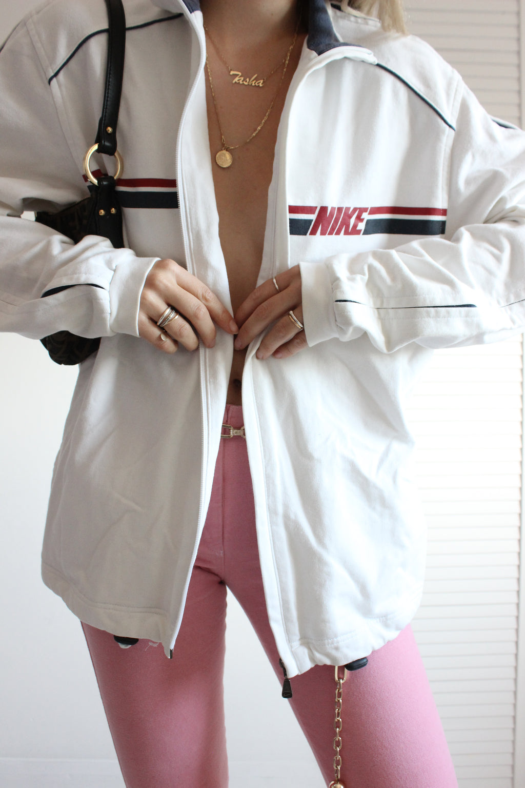 Vintage Y2k 90s White Cotton Nike Zip Up Sweatshirt