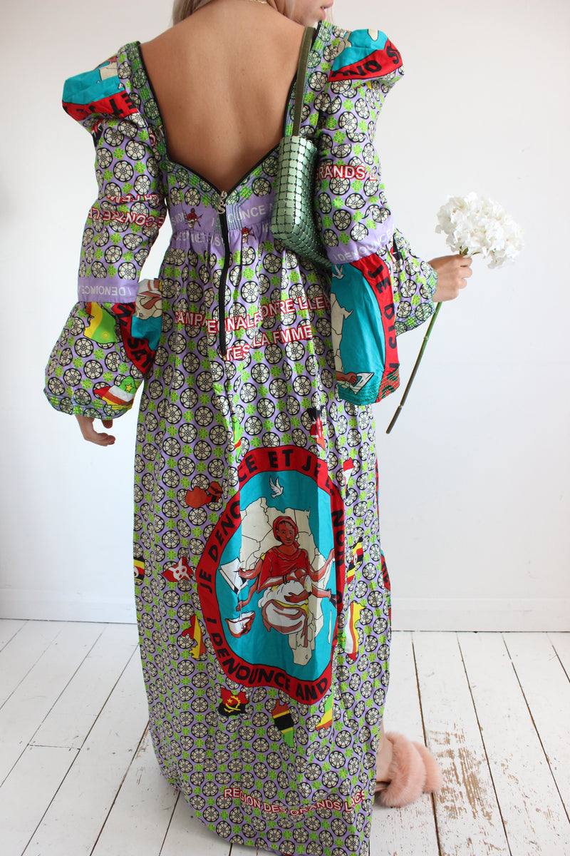 Vintage 90s Y2K Traditional Dress With Puffy Shoulders