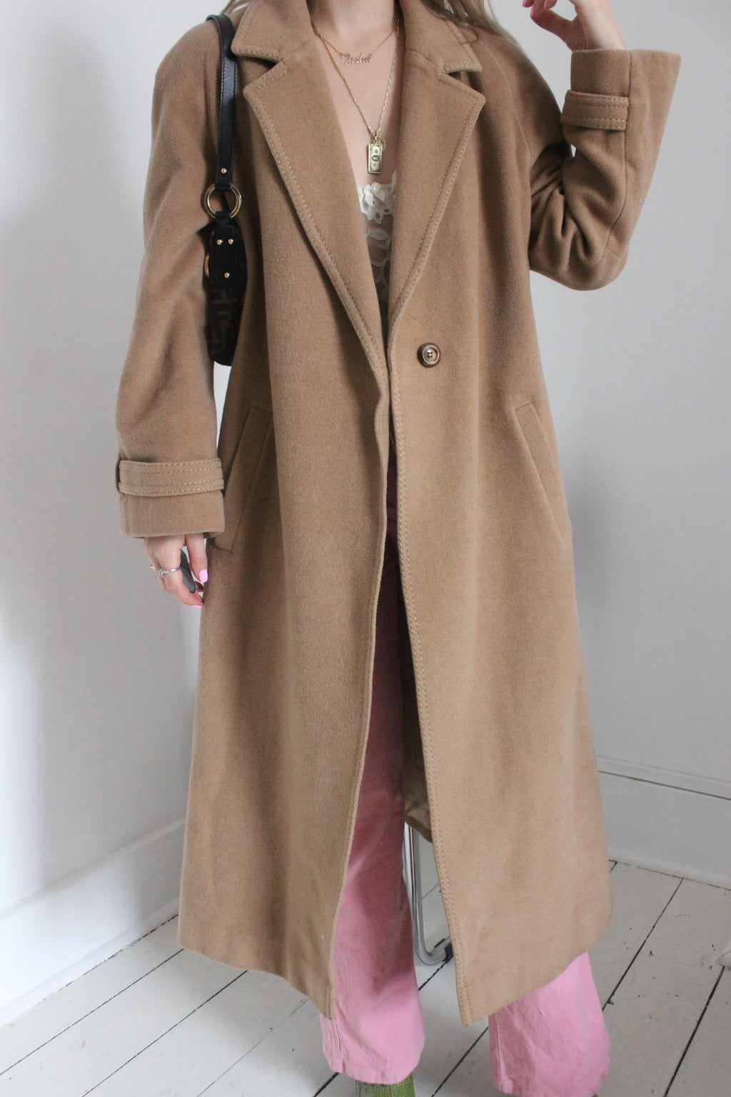 Vintage 70s Long Cashmere & Wool Mix Camel Trench Coat