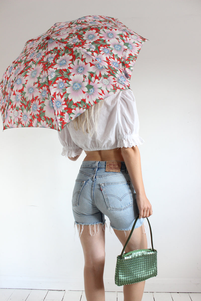 Vintage 80s Red Floral Umbrella
