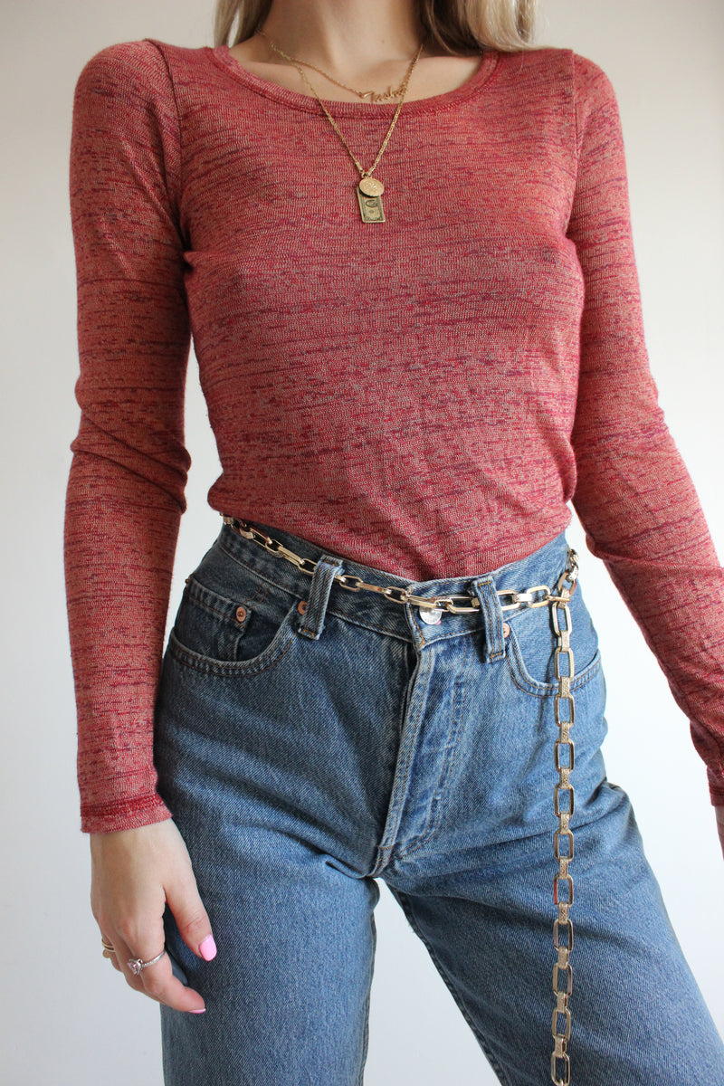Vintage 90s Y2K Pink Maroon Tight Long Sleeved Top