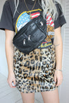 'Deadstock' Vintage 90s Y2K Black Leather Rectangle Bumbag Crossbody