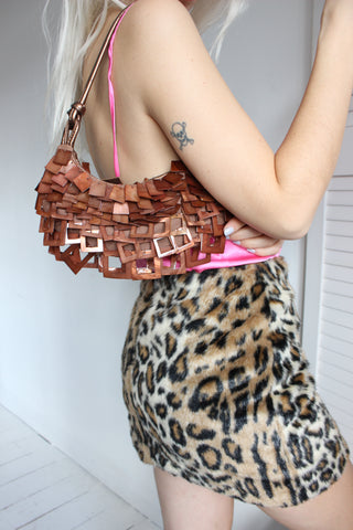 Vintage 90s Brown Woven Leather Handbag