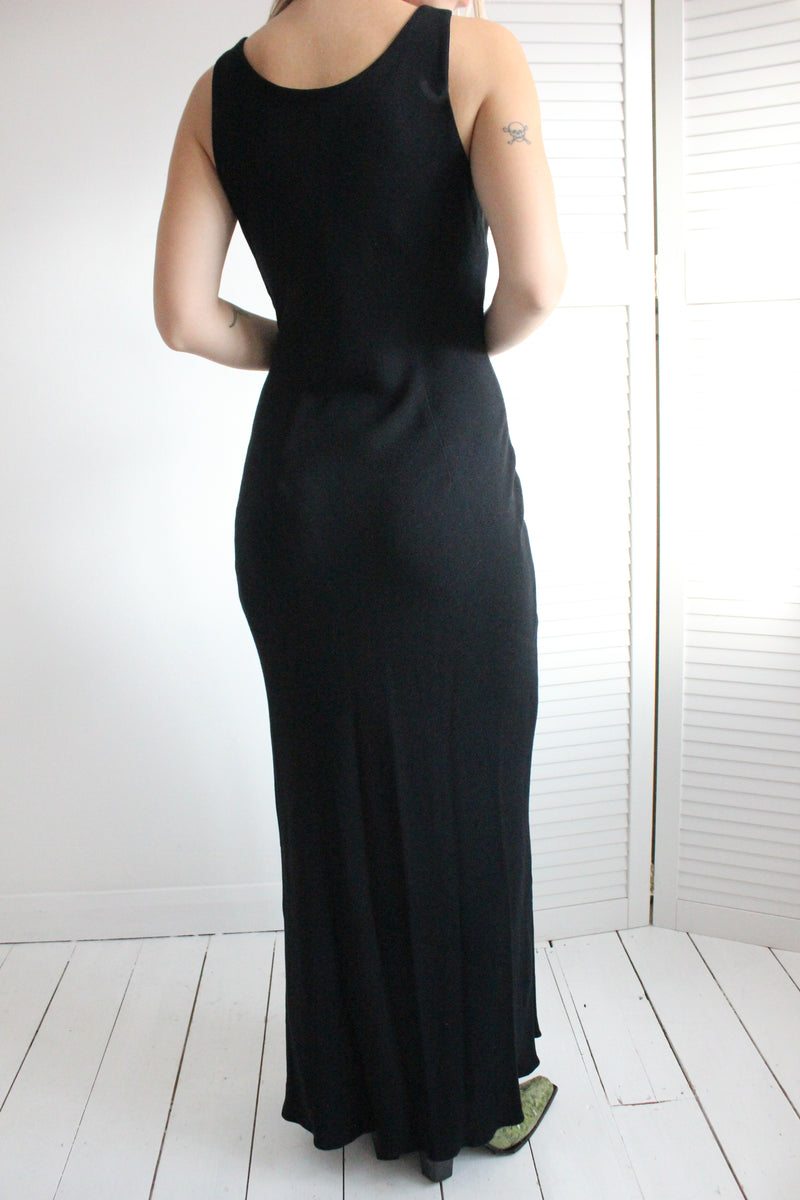 Vintage 90s Y2K Black Ankle Length Evening Dress With Knot Detail