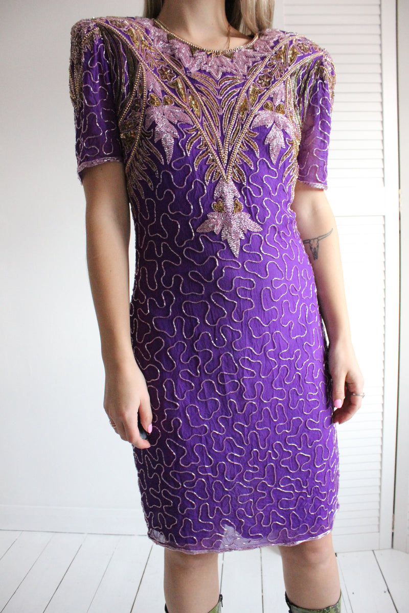Vintage 80s Purple & Gold Sequin Silk Cocktail Dress