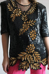 Vintage 80s Black & Gold Sequinned And Beaded Party Top By Frank Usher