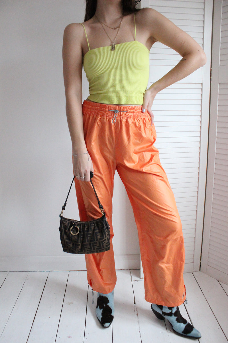 Vintage 90s Orange Venice Beach Sports Drawstring Trousers