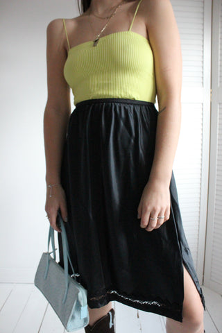 Vintage 90s Sheer Matt Crop Top With Ruffle Trim & Cuffs