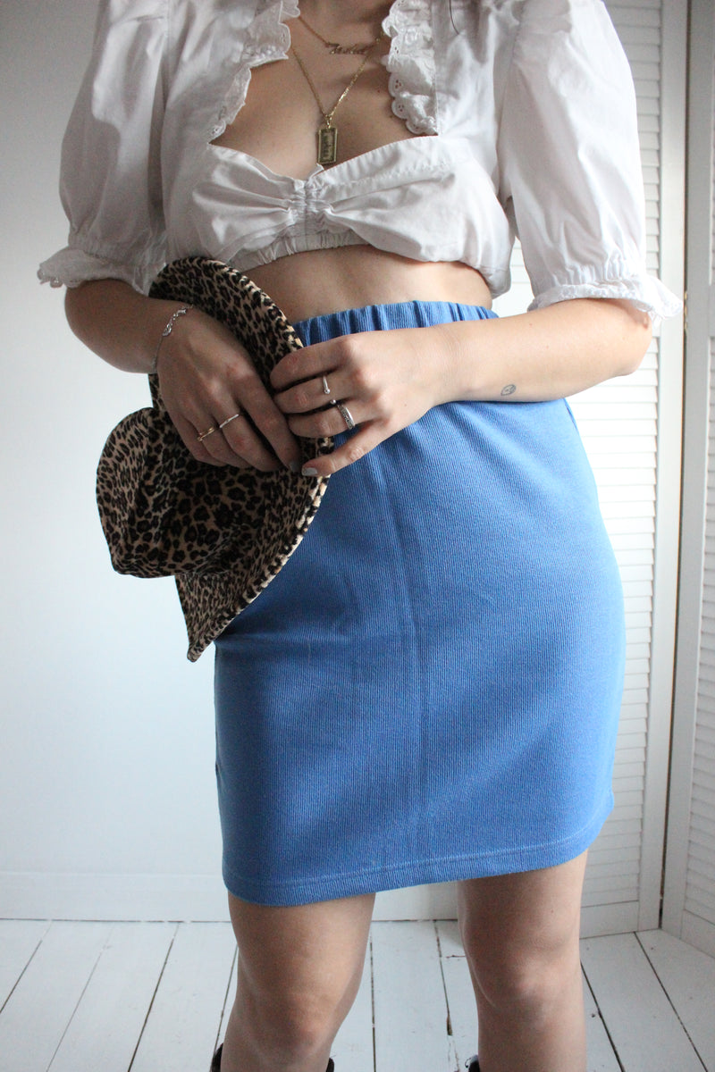 Vintage 90s Highwaisted Blue Ribbed Stretchy Cotton Mini Skirt