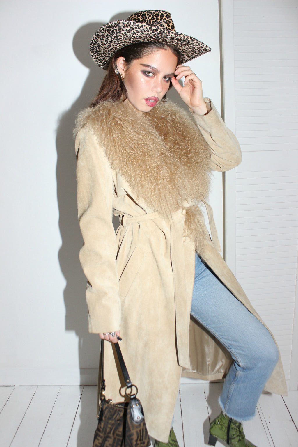 Vintage 90s Nude Butter Soft Suede Trench Coat With Mongolian Fur Trim