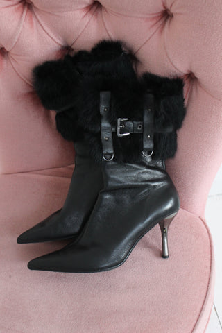 Vintage 90s Mid Heel Black Leather Knee High Boots