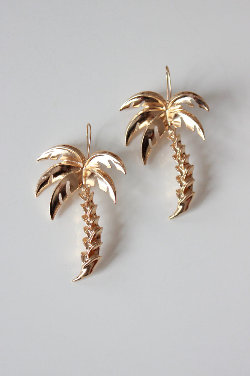 Statement Oversized Gold Tone Palm Tree Earrings