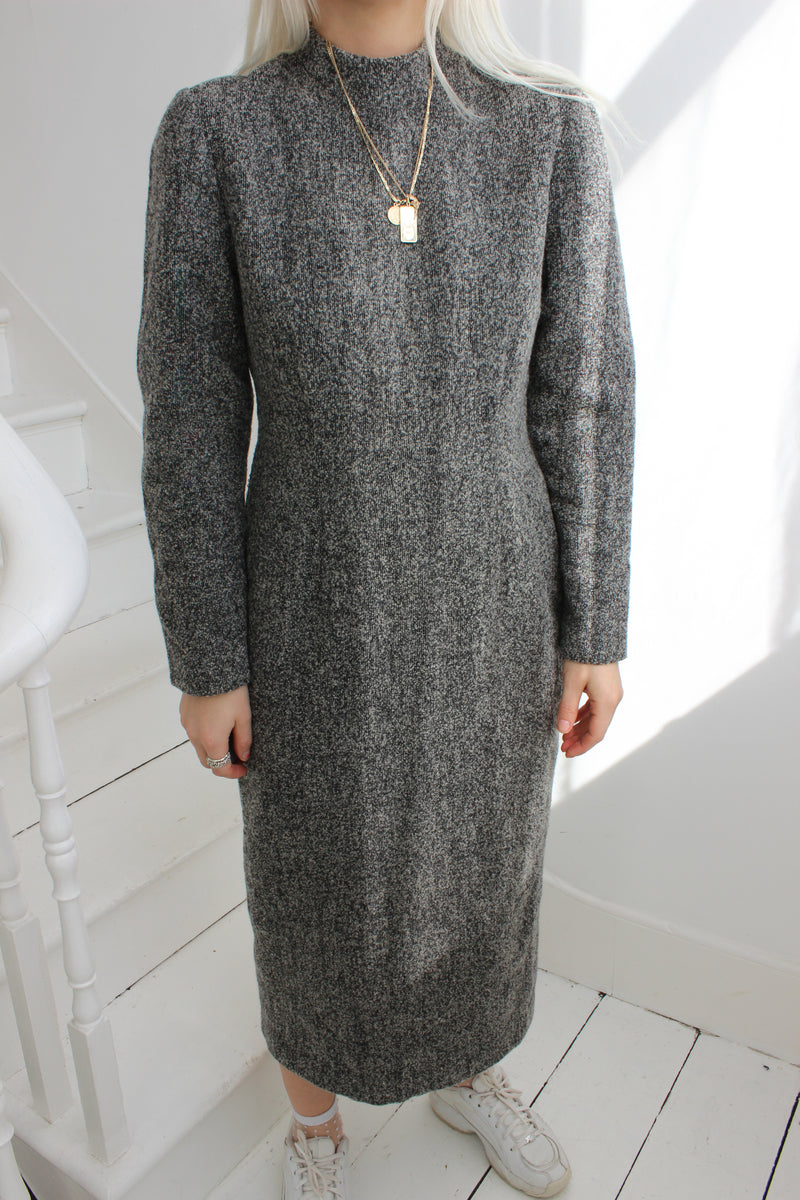 Vintage 80s Grey Wool Long Sleeved Dress