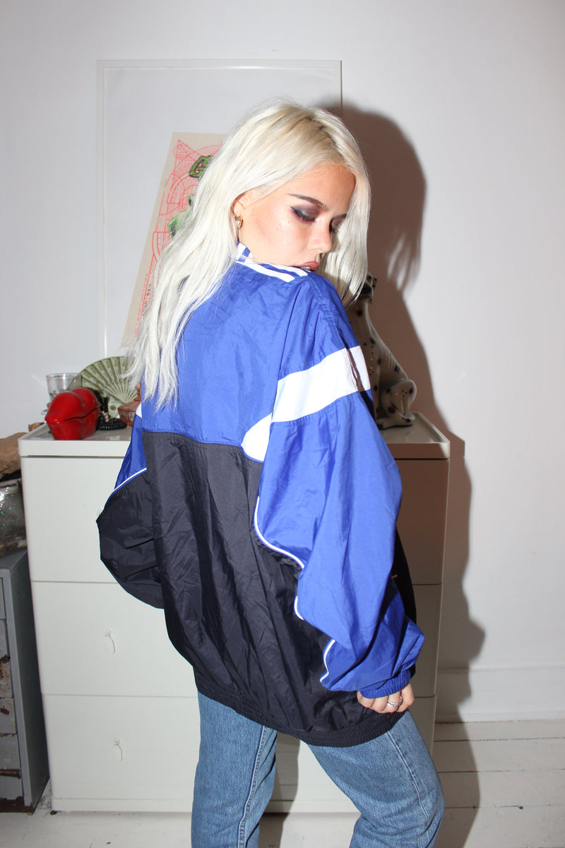 Vintage 90s Blue & Black Adidas Zip Up Tracksuit Jacket