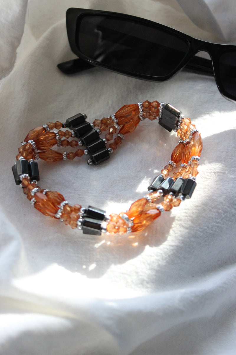 Vintage 90s Amber Plastic Beaded Magnetic Bracelet / Necklace