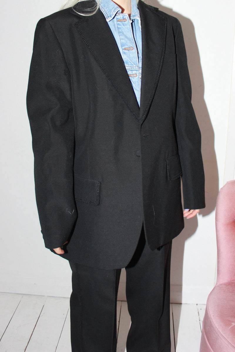 Vintage 90s Y2K Black Wool Two Piece Suit