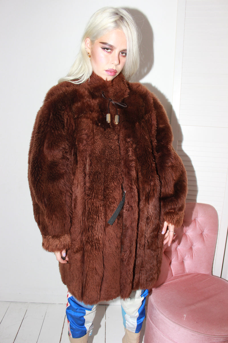 Premium Vintage 70s Shaggy Brown Shearling Sheepskin Jacket
