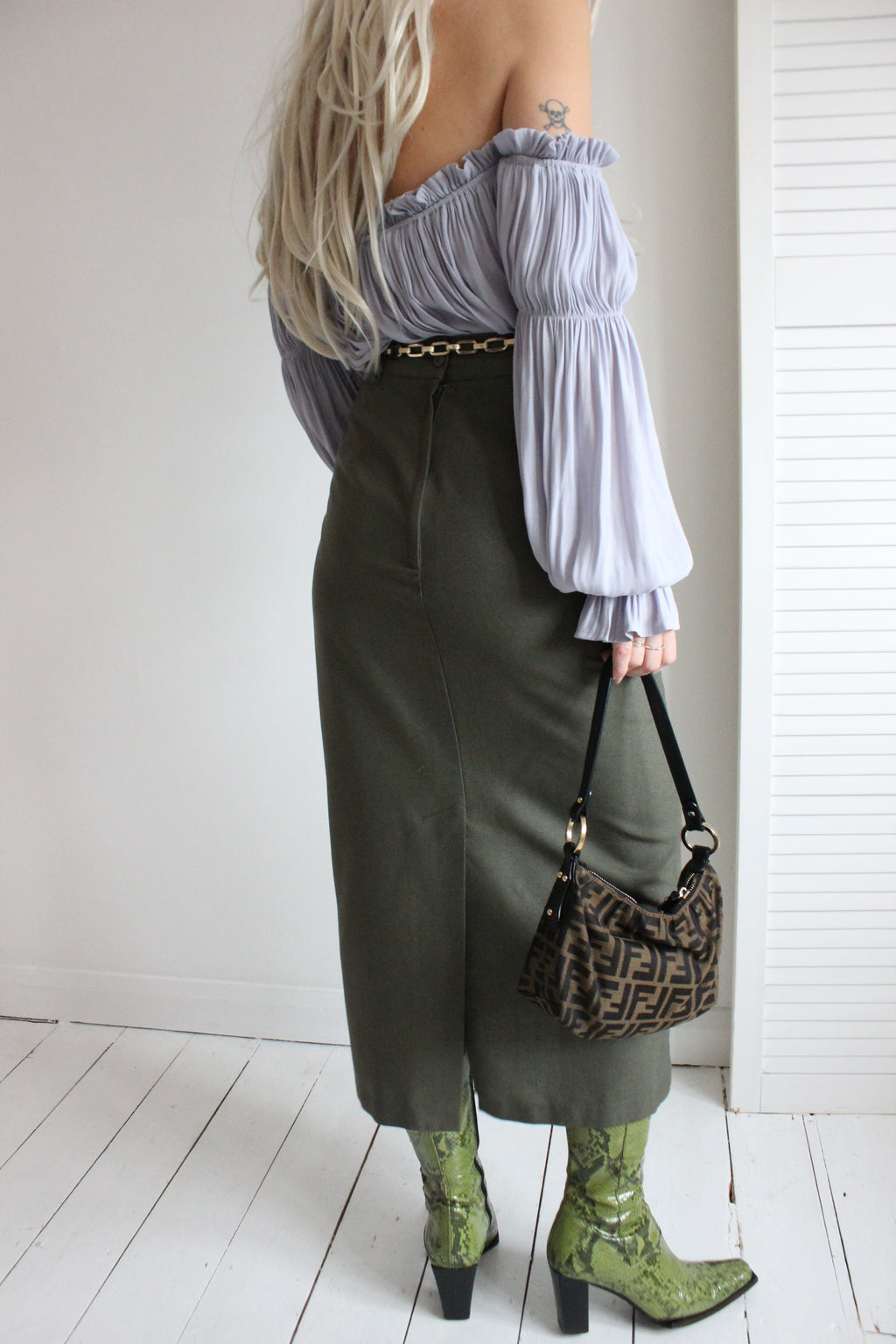 Vintage 90s Long Ankle Length Moss Green Pencil Skirt
