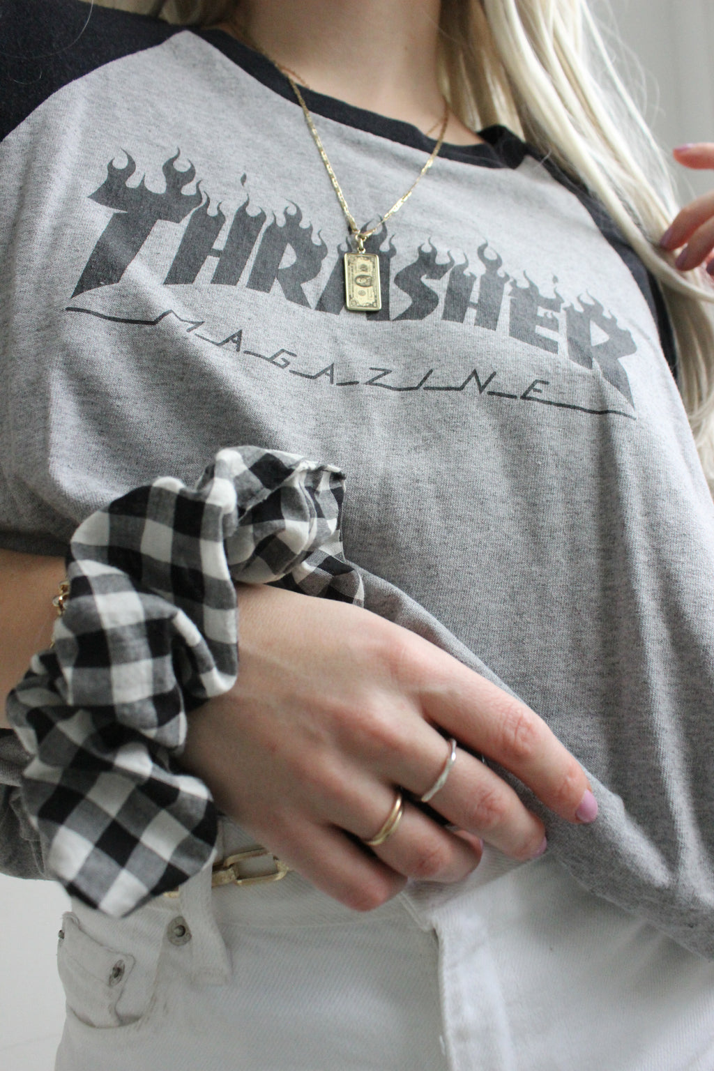 Vintage 90s UNISEX Grey & Black Thrasher Skateboard T-Shirt