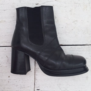 Vintage 90s Black Real Leather Chunky Heel Ankle Boots