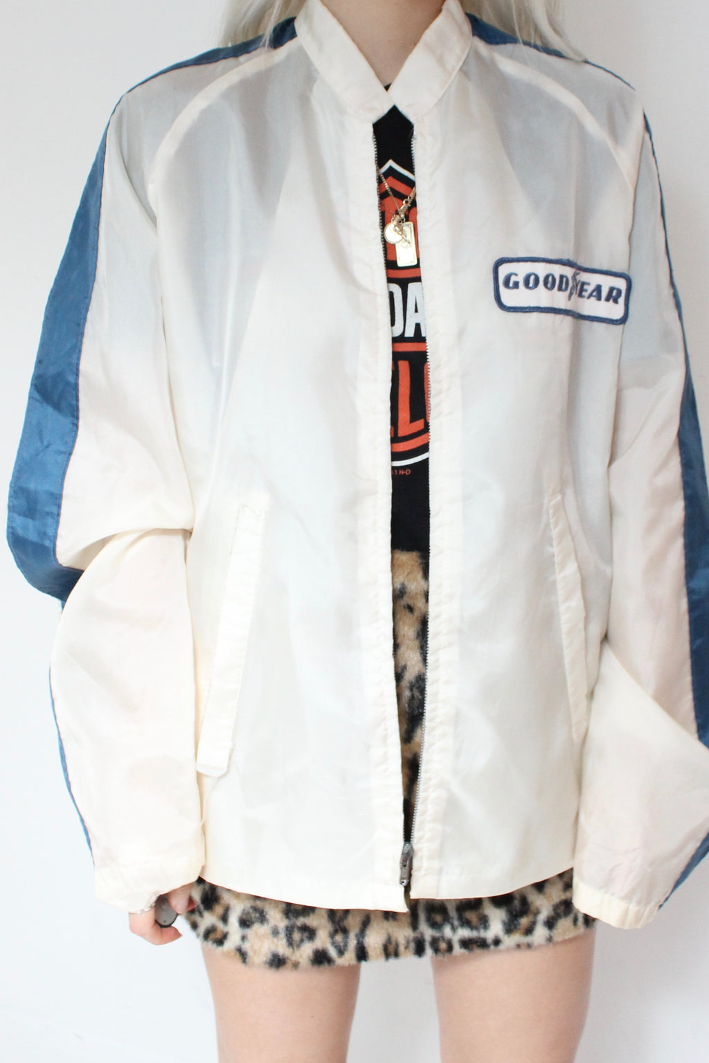 Vintage 70s Cream 'GoodYear' Racing Windbreaker Jacket