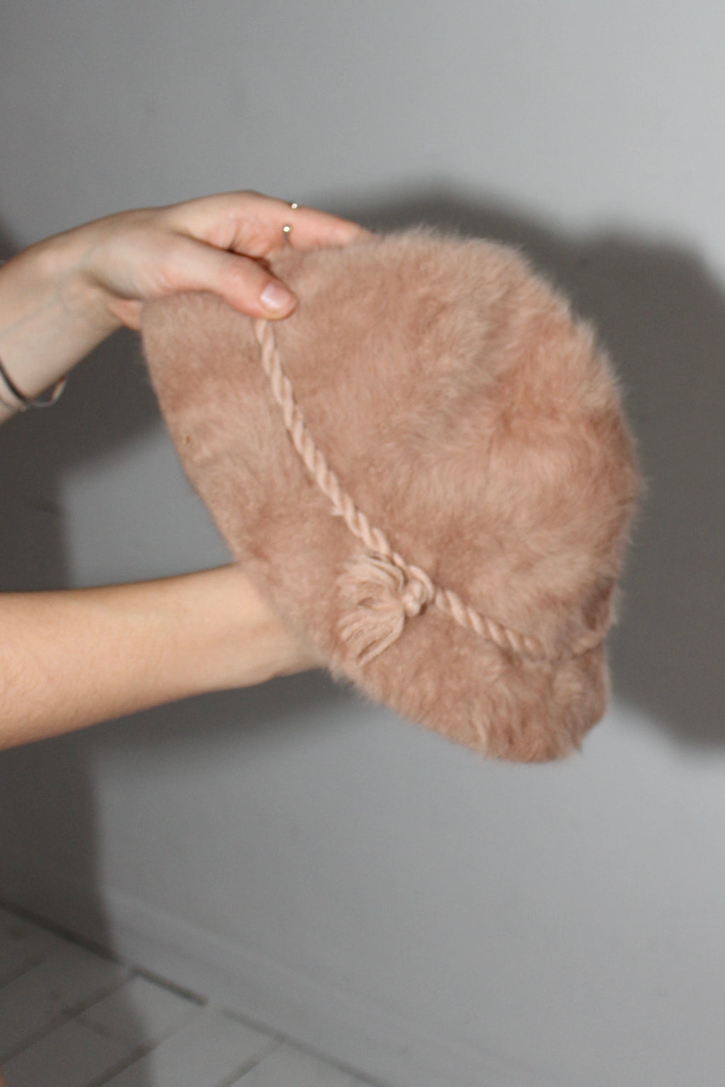 Vintage 70s Nude Angora Fur Bucket Hat by St Michael