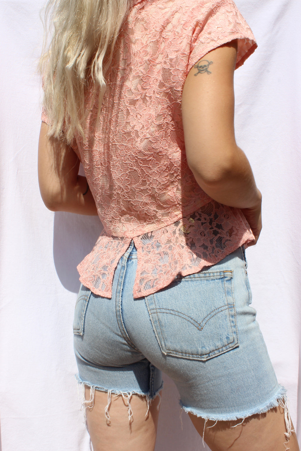 Vintage 60s Short Sleeved Peach Floral Lace Blouse