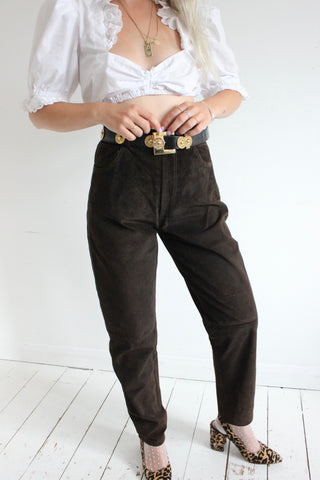 Vintage 1980s Hot Red Real Leather Highwaisted Trousers
