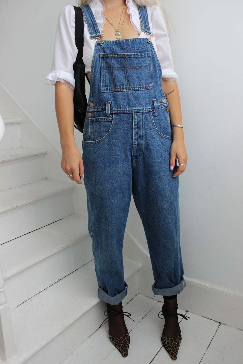 Vintage 90s Dark Blue Denim Oversized Fit Dungarees