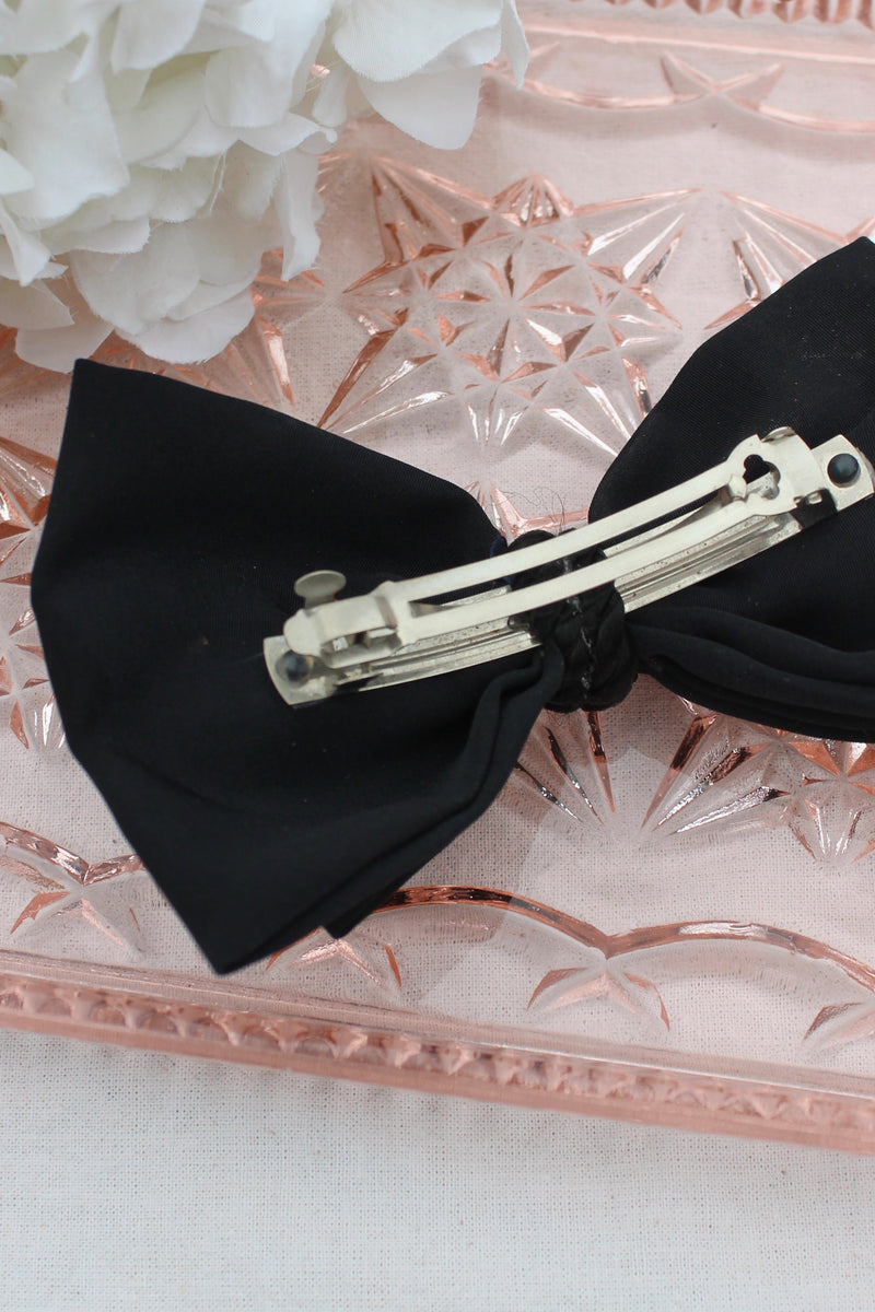 Vintage 70s Black Oversized Bow Hairclip