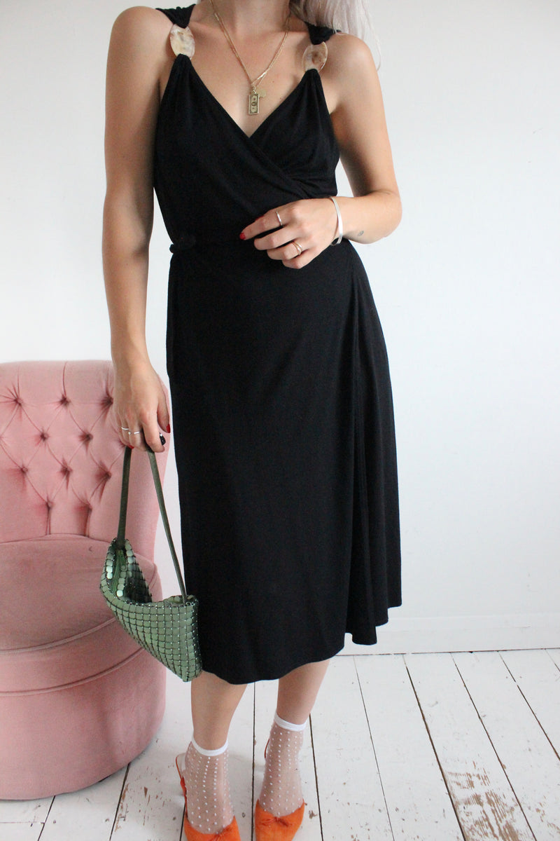 Vintage Y2K Black Wrap Around Midi Dress