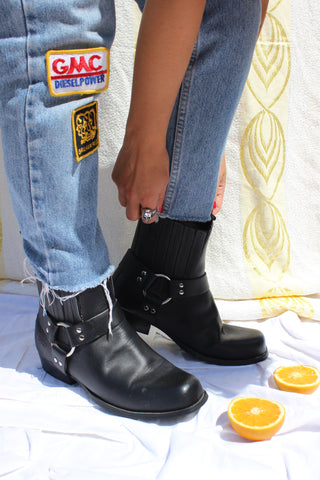 Vintage 90s Black Real Leather Mid Heeled Ankle Boots