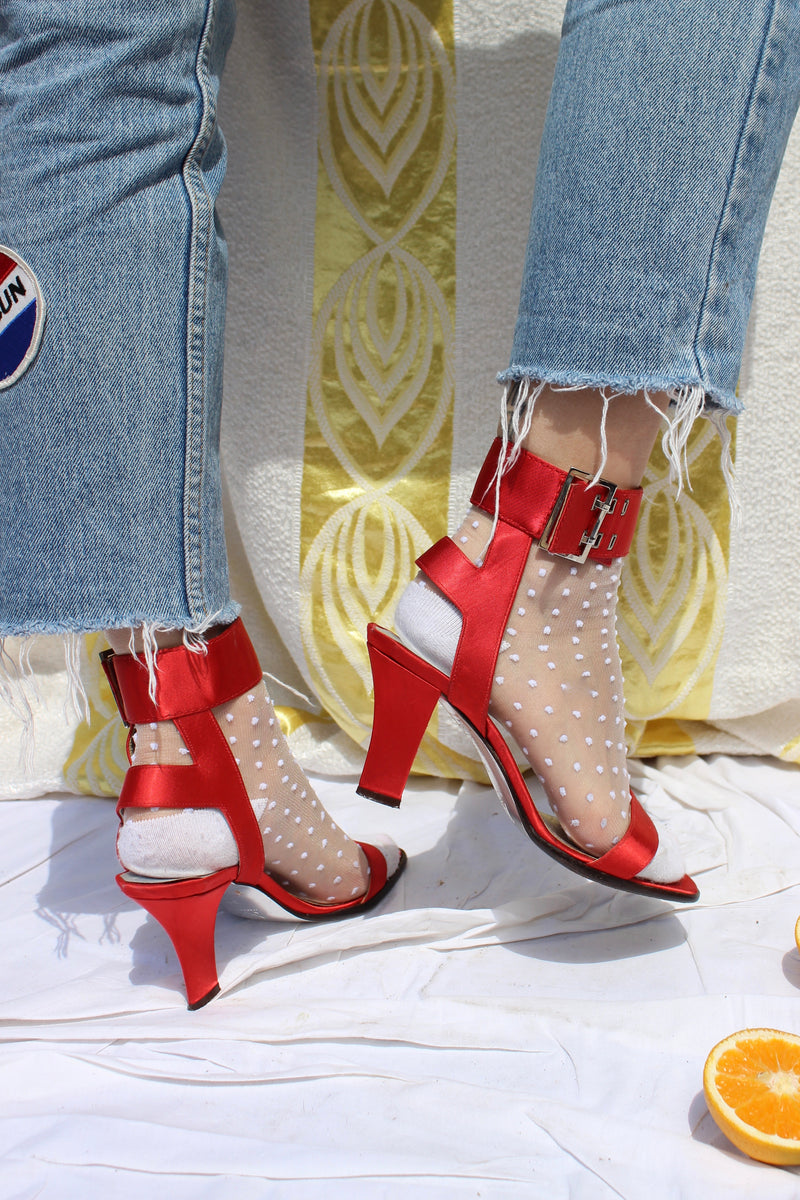 Vintage 90s 'Max Mara' Red Satin Ankle Strap Mid Heels