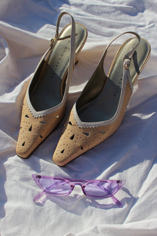 Vintage 80s Purple Leather Bow Mid Heels